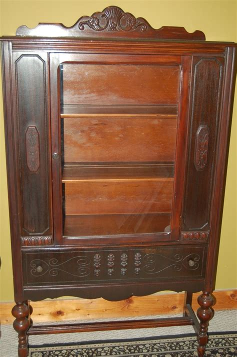 Antique China Cabinet Late 1800 S Wood Original Glass