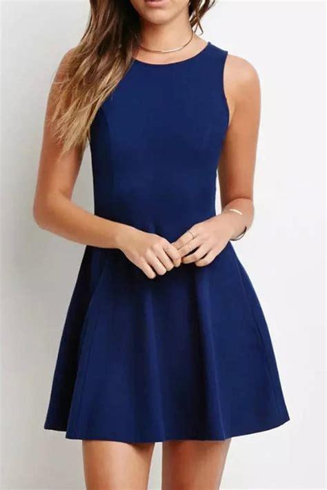 Sleeveless Pleated Mini Dress navy blue sleeveless pleated mini dress from 2015