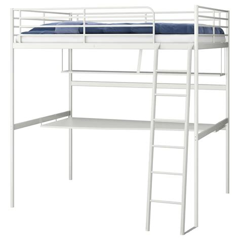 Ikea Metal Bunk Beds Ikea Tromso Svarta Loft Bed Frame Metal Desk And Shelf Top Bunk Bed High Sleeper Ebay