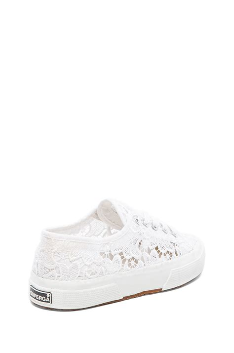 white lace up sneakers superga lace lace up sneakers in white lyst
