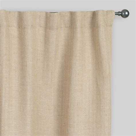 jute drapes natural herringbone jute sleevetop curtains set of 2
