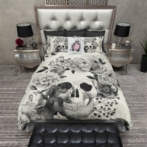 skull blankets comforters black and cream watercolor skull bedding cream ink and rags