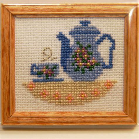 Home Decor Wholesaler framed tea pot w cup cross stitch stewart dollhouse