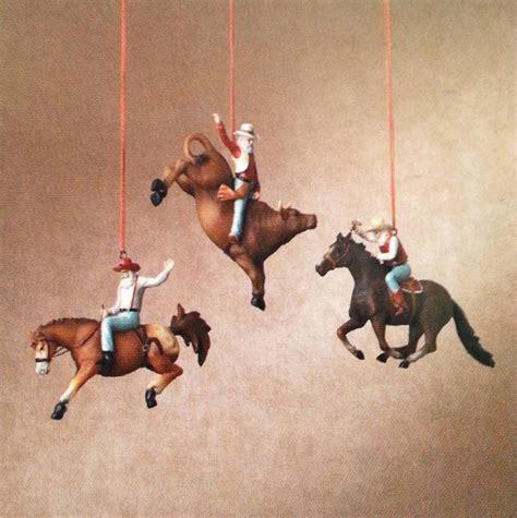 bucking bull ornaments 3 rodeo santa ornament set new western cowboy bull rider ebay