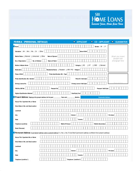 Sle Loan Documents by Sbi Housing Loan Form Sle Loan Application Form 11 Free Documents In Word Pdf