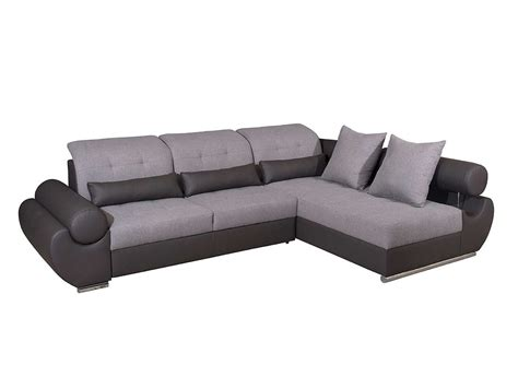 modern sectional sleeper two toned fabric leather sectional sofa sleeper ef tatiana