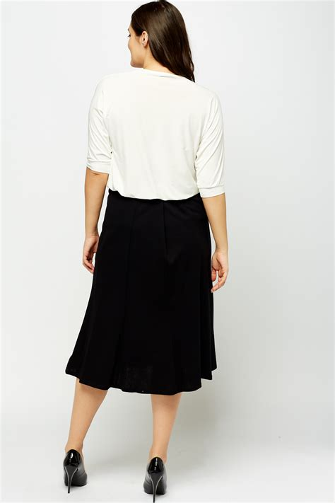 swing midi skirt black elasticated midi swing skirt just 163 5