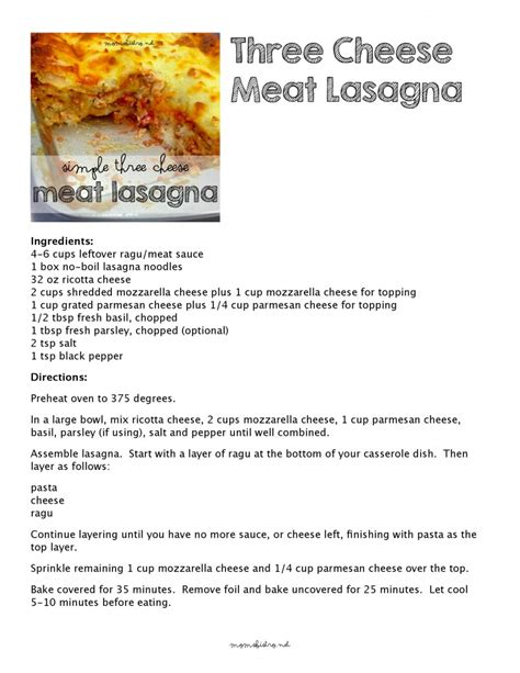 Printable Lasagna Recipes | use up your leftovers try this simple three cheese meat