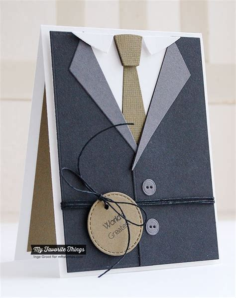 Suit Card Template by Clearly Sentimental About Fathers Linen Background