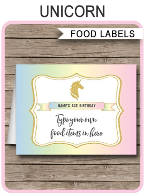 unicorn food labels place cards unicorn birthday party