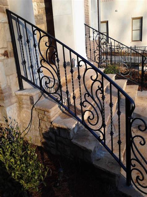 Home Decorators Atlanta exterior wrought iron handrail railing mediterranean