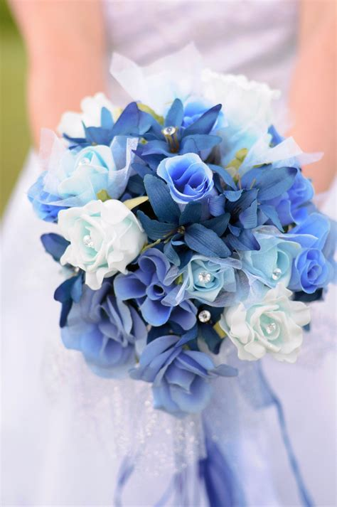 Flowers Wedding by Fall Blue Bridal Bouquet Bouquet Idea