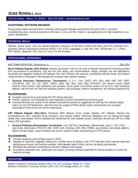 Professional Resume Exle by Exle Software Engineer Resume 28 Images Senior