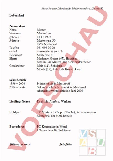 Lebenslauf Vorlage Schweiz Schüler Www Unterrichtsmaterial Ch Lebenskunde Berufswahl Lebenslauf F 252 R Schweizer
