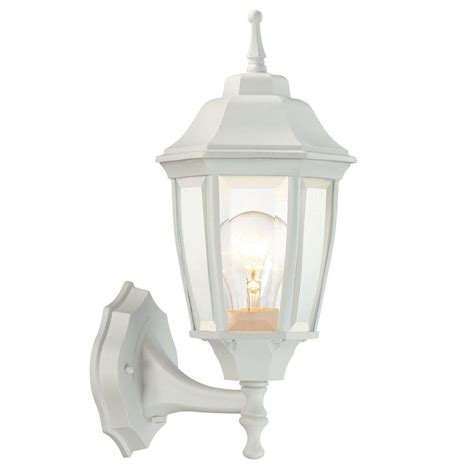 White Patio Lights Hton Bay 1 Light White Outdoor Dusk To Wall Lantern Bpp1611 Wht The Home Depot
