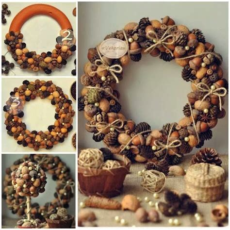 diy pine cone acorn wreath pictures photos and images