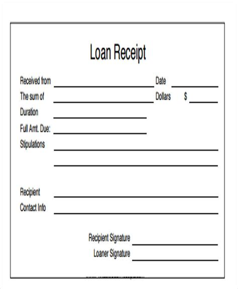 personal receipt template 7 loan receipt templates free sles exles