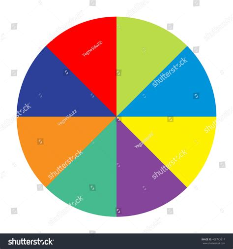 colored section circle divided into eight equal parts colored section