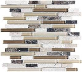 4 quot x 6 quot sample bliss cappucino stone and glass linear mosaic tiles kitchen backsplash tub