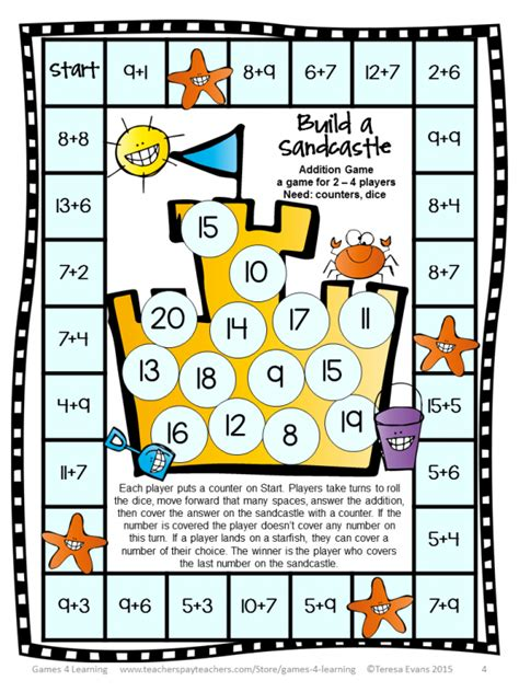 printable numeracy games free printable beach themed maths activity lesson plans
