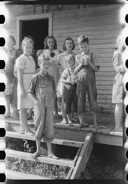 Mountain children on steps of school in Breathitt County