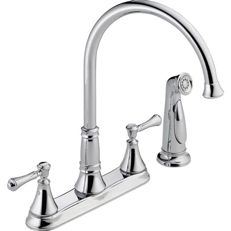 2 Handle Kitchen Faucets Delta Cassidy 2 Handle Standard Kitchen Faucet With Side Sprayer In Chrome 2497lf The Home Depot