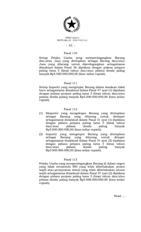 Uu Perdagangan No7 Tahun 2014 Tentang Perdagangan uu no 7 2014 ttg perdagangan