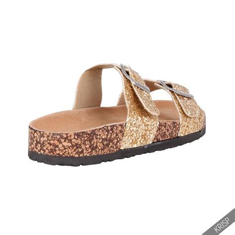 slip in sandals womens glitter strappy arizona mule slip on sandals