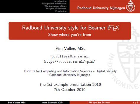 templates for presentation in latex ir pim vullers ru beamer style