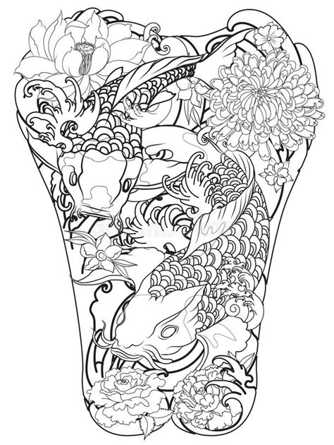 koi fish with peony flower and wave tattoo japanese tattoo