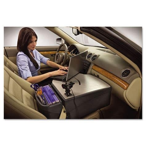 car desk with laptop mount supply organizer gray