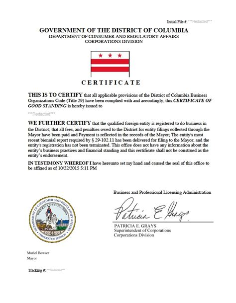 District Of Columbia Records District Of Columbia Certificate Of Standing
