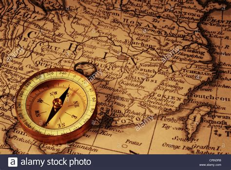 old boat compass grungy old compass and ancient map of china which is from