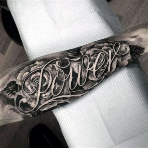 tattoo script ideas for men flowers power last name mens script forearm