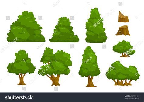 vector tree tutorial vector nature elements set isolated cartoon stock vector