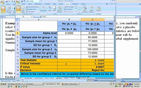 hypothesis testing excel template 8 1a unpaired t test hypothesis test using excel part 1