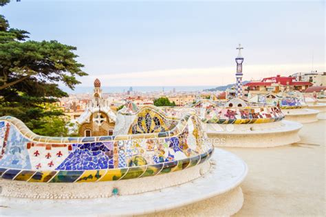 park guell bench colorful mosaic bench of park guell designed by gaudi