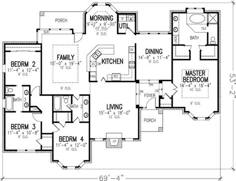 one story house plans with large kitchens plan 19187gt single story best powder room and