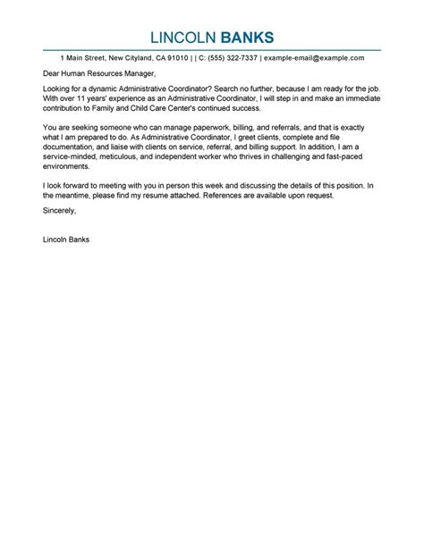 Administrative Coordinator Cover Letter Example My