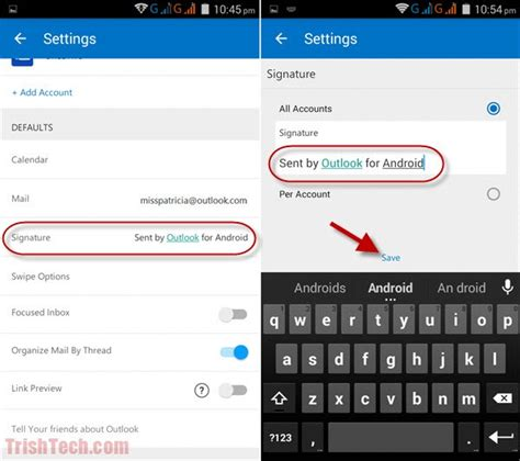 outlook mobile app android change message signatures in outlook app for android