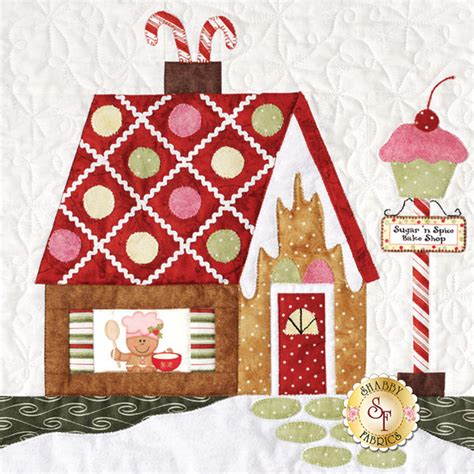 gingerbread village set of 7 patterns accessory fabric packet