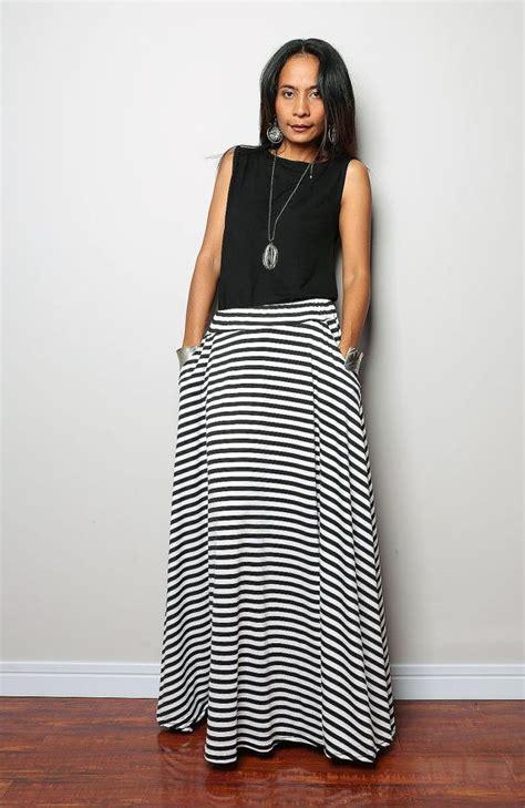 striped skirt maxi skirt black and white skirt