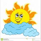 Cute Cartoon Sun With Clouds Stock Photography - Image: 9760432