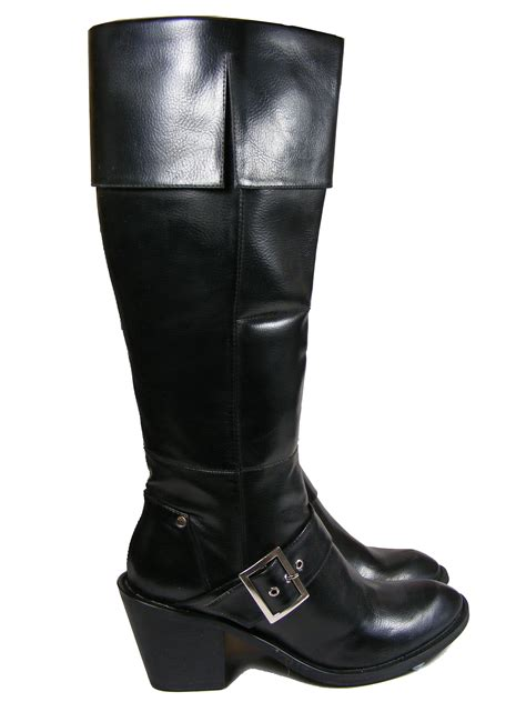 new womens stunning black buckle puss in boots knee