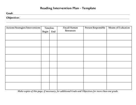 student planner templates reading intervention plan