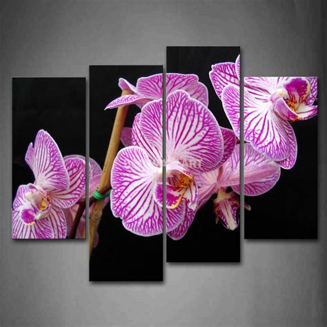 4 Pink Flower Wall D Cor Picture Print white orchid with purple stripe 4 pink painting on canvas wall print the picture
