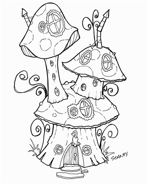 printable fairy house free coloring pages of fairy on toadstool