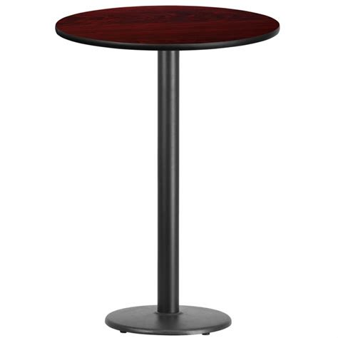 high top round bar tables 30 round mahogany laminate table top with 18 round bar