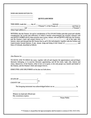 quitclaim fill  printable fillable blank