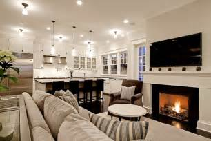 Open Plan Kitchen Family Room Ideas by Kitchen Family Room Transitional Living Room
